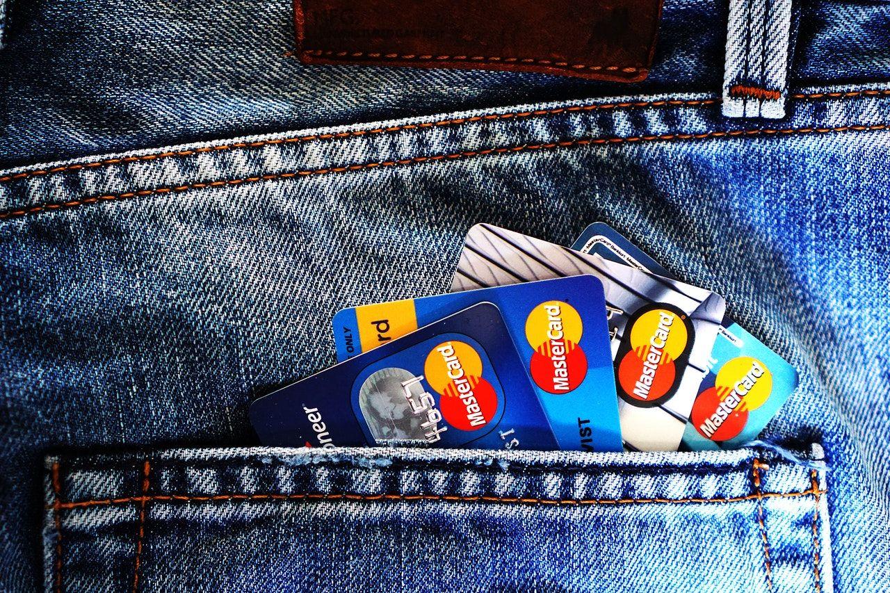 back pocket full of credit cards